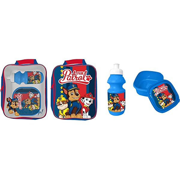 3-Piece PAW PATROL 4105-5424 Bag//Sandwich Box and Bottle Characters Lunch Set