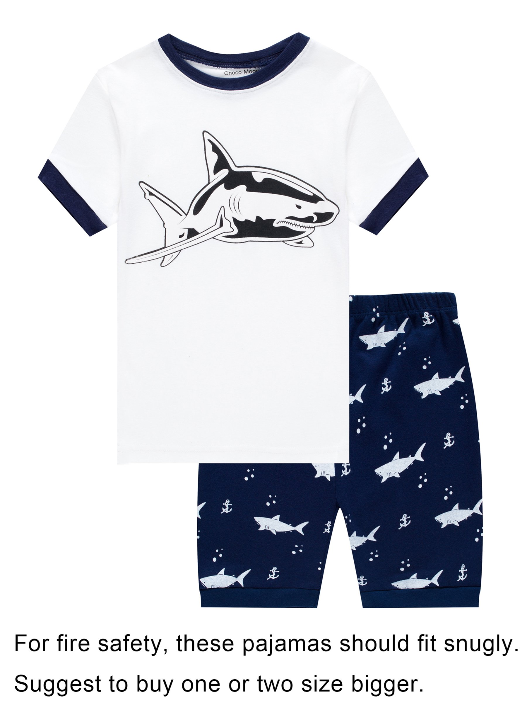 Family Feeling Big Boys Shark Snug-Fit Pajamas Short Sets 100% Cotton White Pjs Clothes Kid 10