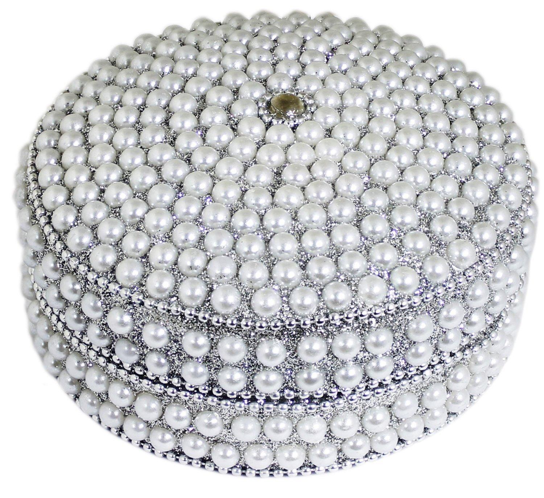 SKAVIJ Handmade Indian Jewelry Gift Box Handmade Round Metal and Beaded Decorative Diameter 4 Inch (White, Diameter - 4 Inch)