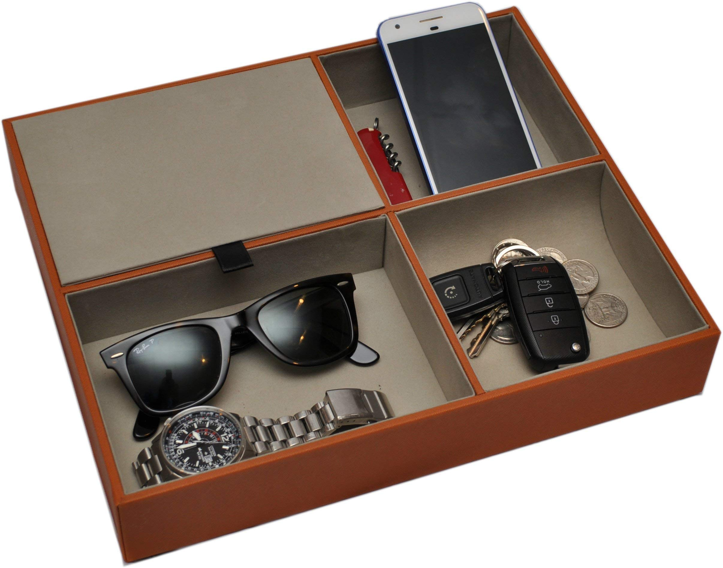 Valet Tray Catchall for Home and Office - Organizer and Storage Station for Nightstand, Desktop, and Kitchen