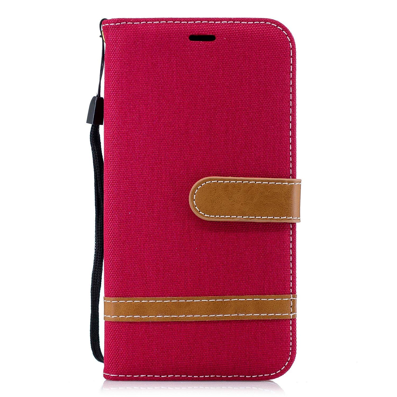 Lomogo Coque iPhone XR, Housse en Cuir Portefeuille avec Porte Carte Fermeture par Rabat Aimanté Anti Choc Etui de Protection pour Apple iPhone XR - LOBFE12743 Noir