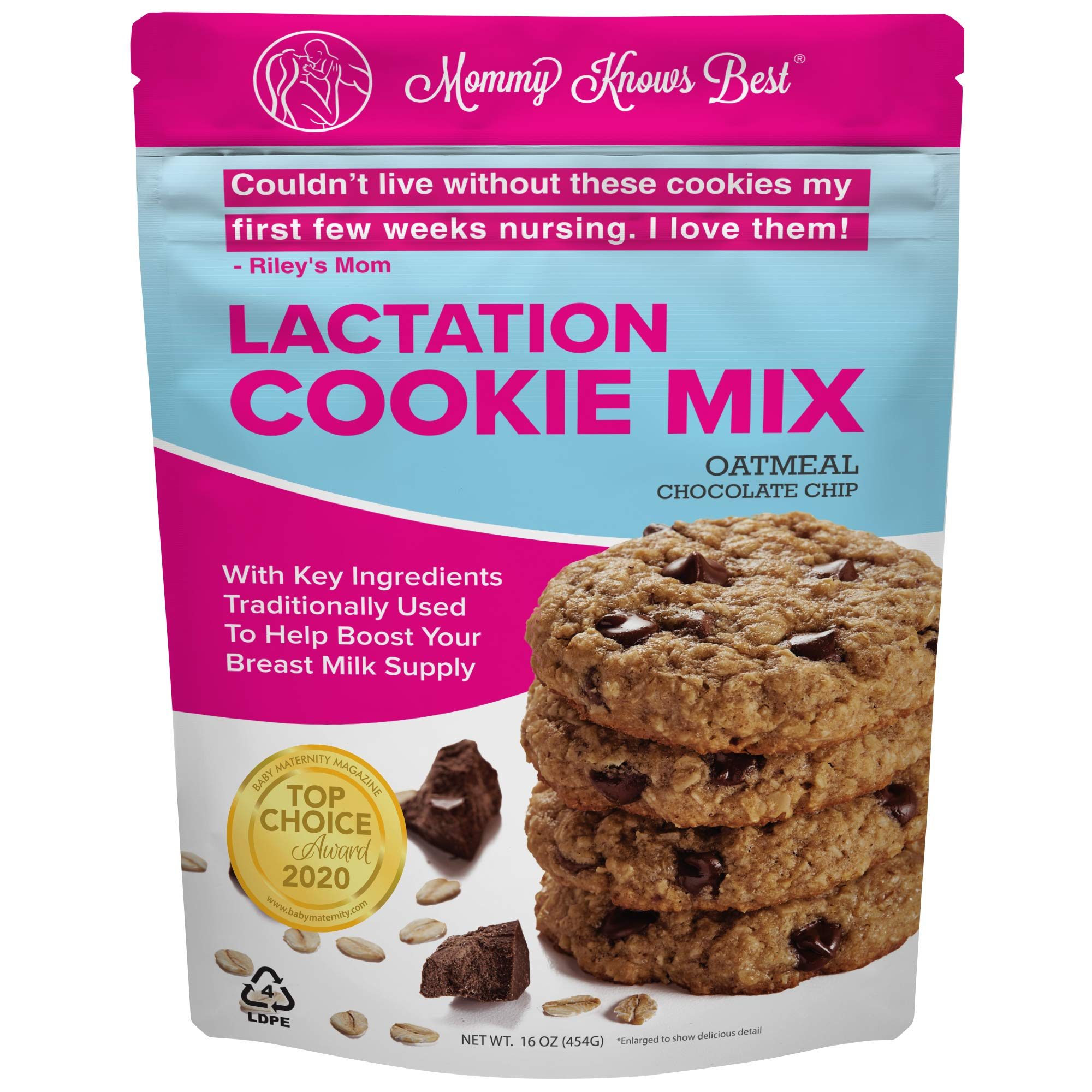 Lactation Cookies Mix - Oatmeal Chocolate Chip Breastfeeding Cookie Supplement Support for Breast Milk Supply Increase - 16 ounces