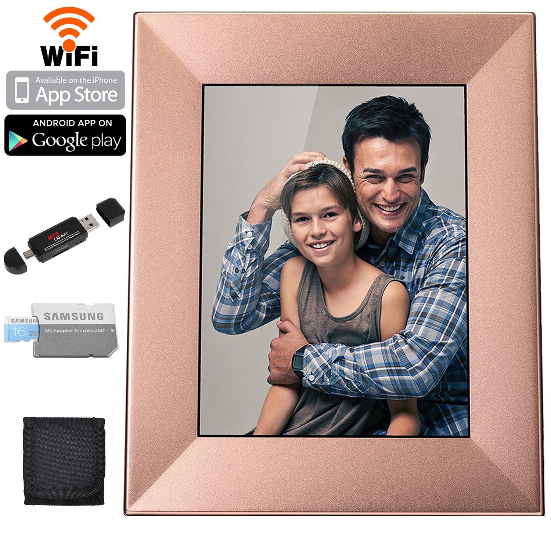 Nixplay Iris 8'' Digital Picture Frame With Wi-Fi Cloud (W08E - Peach Copper), Samsung 16GB Class 6 Micro SDHC, Polaroid Memory Card Wallet and Ritz Gear Card Reader