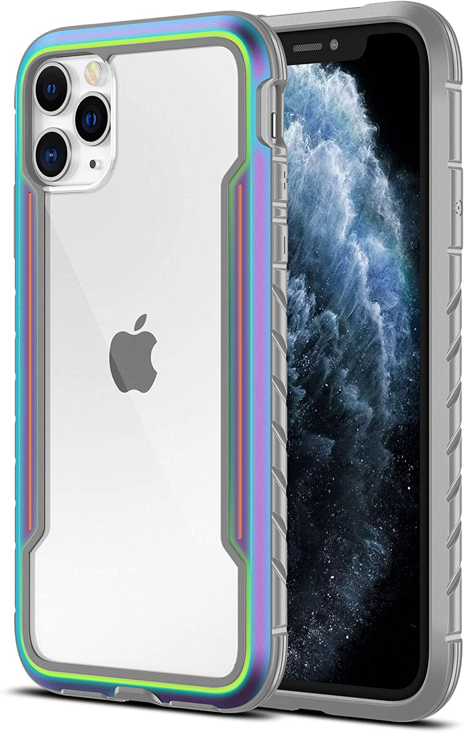 MRYUESG iPhone 11 Pro Max Case, Phone Case iPhone 11 ProMax Cases, Silicone Durable Soft Bumper, Clear Hard Back, Aluminum Frame, Heavy Duty Shockproof Protective Cover for Men, Iridescent