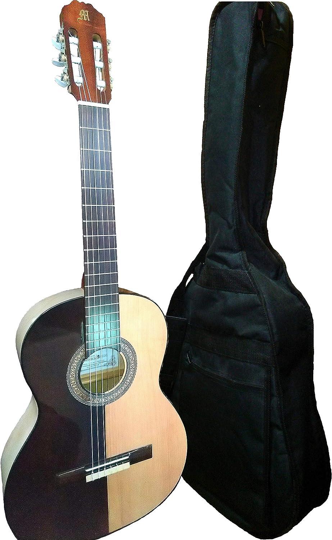 MARCE HELMANTICA - Guitarra Clasica española de estudio + Funda (caja armonica de pino, cuerpo de Sicomoro, Sapelly y Palosanto simulado. Perfiles tintados en negro. Tamaño adulto.)