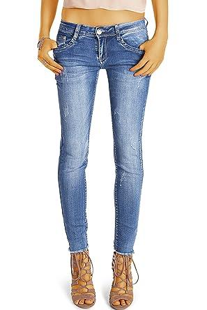 7a9358149ec03 Bestyledberlin pantalon en jean femme, jean slim fit taille basse detruit  j56i 34/XS