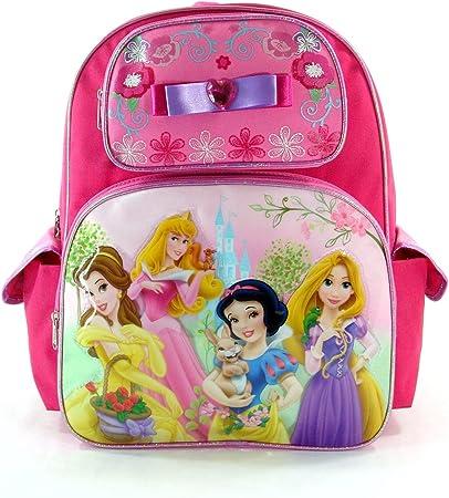 """Disney Princess Large School Backpack 16/"""" Girls Book Bag Black Pink Floral"""