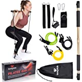 BodyClub Portable Pilates Bar Kit with 3 Resistance Bands, Aluminium Upgrade Gym Stick for Men and Women, New and…