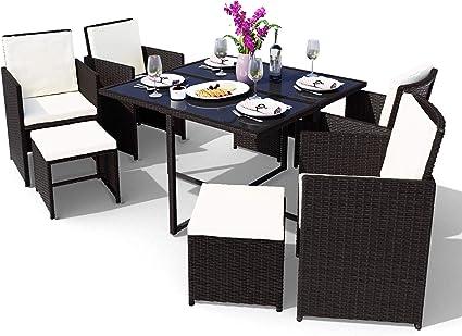 Amazon De Swing Harmonie Polyrattan Sitzgruppe Esstisch Lounge Sitzgarnitur Essgruppe Gartenmobel Set 9 Teilig Schwarz