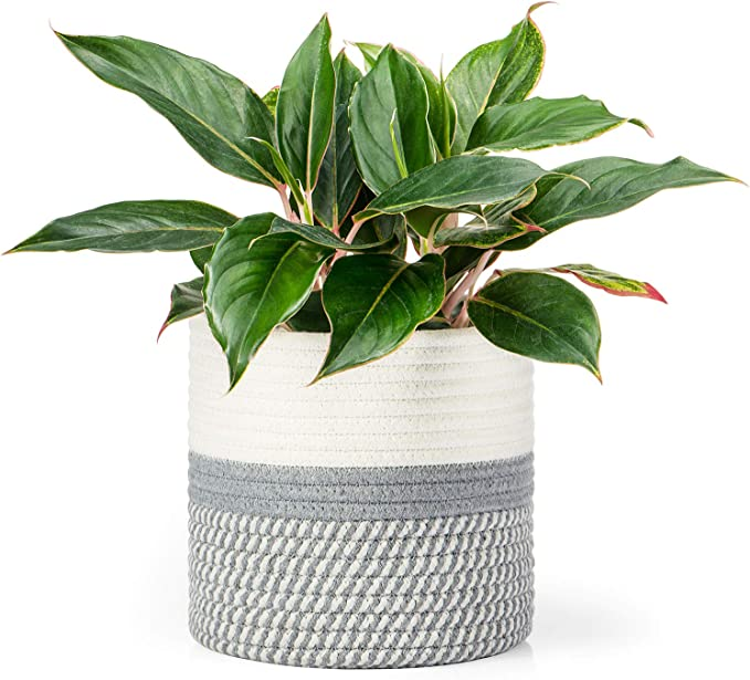 White Grey Stripes 8x 7.5 POTEY 700601 Cotton Rope Woven Plant Basket Modern Woven Basket for 7 Flower Pot Floor Indoor Planters,Storage Organizer Basket Rustic Home Decor