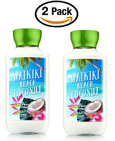 Bath Body Works Waikiki Beach Coconut Body Lotion Pair Of Two 2 Shea And Vitamin E Body Lotions 8 Ounce Each
