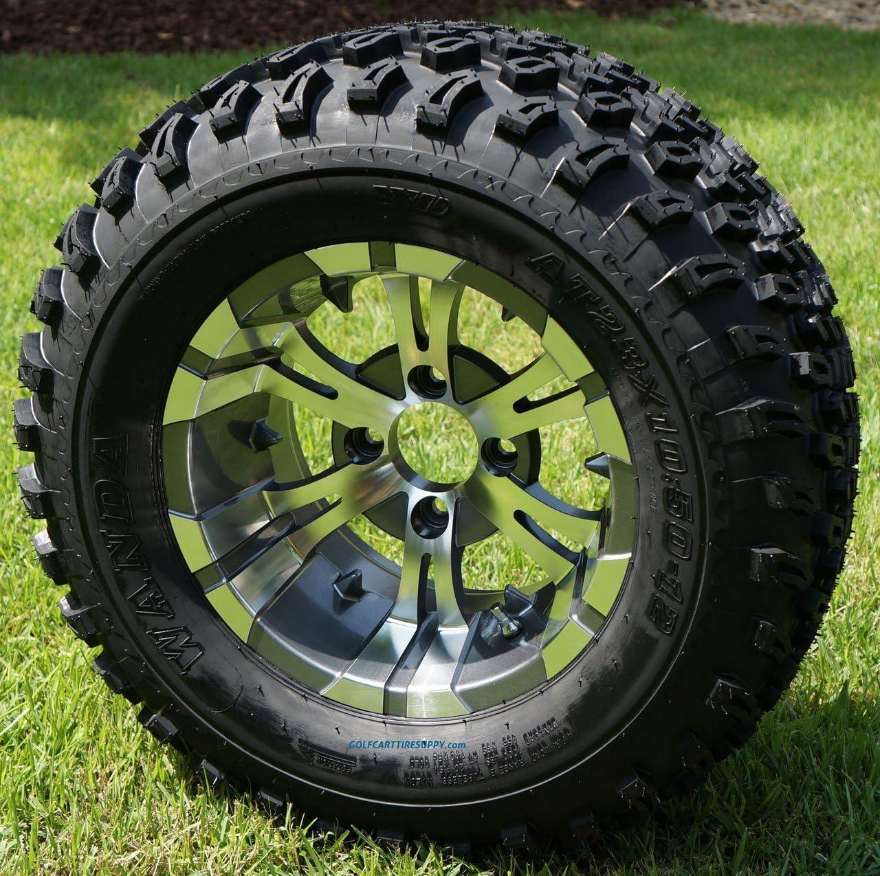 "12"" Vampire Gunmetal Aluminum Wheels and 23X10.5-12"" All Terrain Golf Cart Tires Combo - Set of 4"