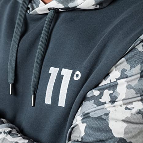 cd3574ff4bd19 Eleven Degrees 11 Degrees 11D-982 Printed Pull Overhead Hoodie - Watercolour  Camo X-Large Grey: Amazon.co.uk: Clothing