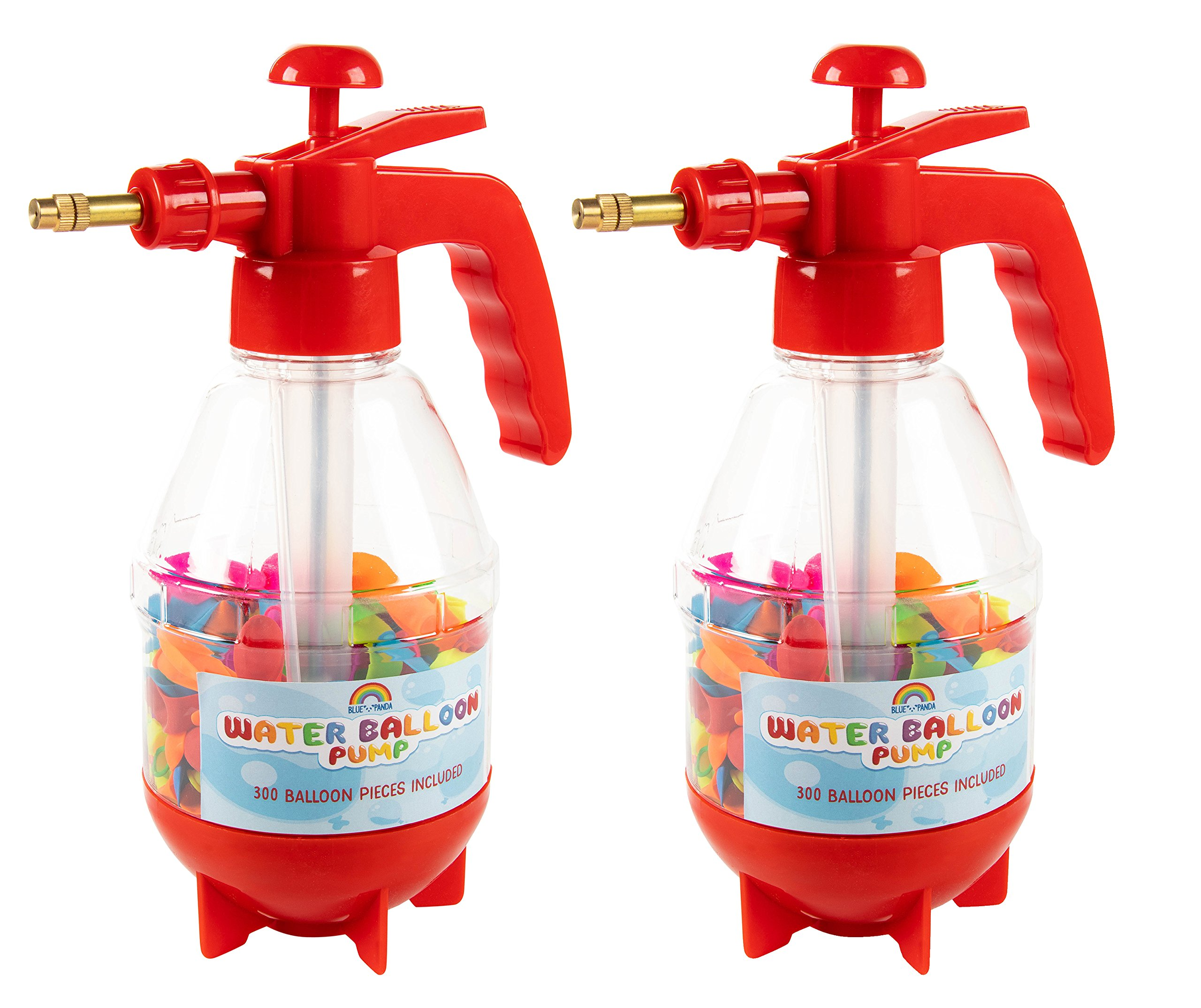 Blue Panda Water Balloon Pump - 2-Pack Water Balloon Filling Stations for Summer Pool Parties, Water Balloon Fights, Kids Birthdays, 300 Multi-Colored Balloons Included, Red, 7.5 x 11 x 4 Inches