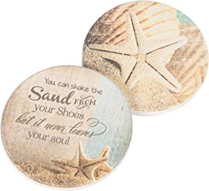 You Can Shake The Sand From Your Shoes Coastal Seashell 2.75 x 2.75 Absorbent Ceramic Car Coasters Pack of 2
