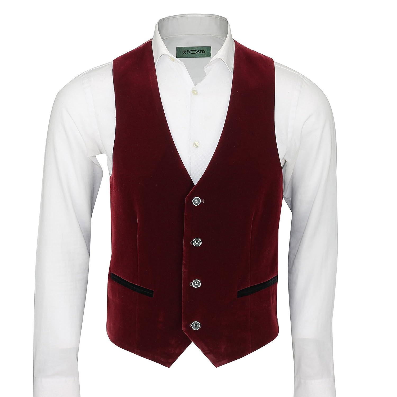 Xposed uomo marrone vino in velluto vintage 3/tuta giacca gilet pantaloni articoli venduti separatamente come separa Maroon 52