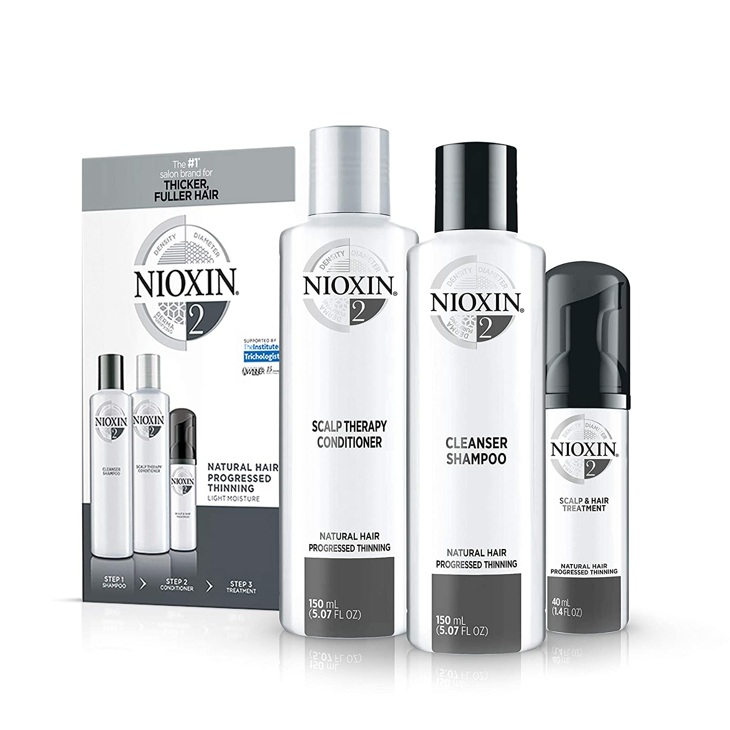 Nioxin System 2 Starter Kit Cleanser, Scalp Therapy & Scalp Treatment natural Hair Progressed Thinning 1 kit