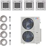 COOPER AND HUNTER Quad 4 Zone Ductless Mini Split Ceiling Cassette Air Conditioner Heat Pump 9000 9000 18000 18000