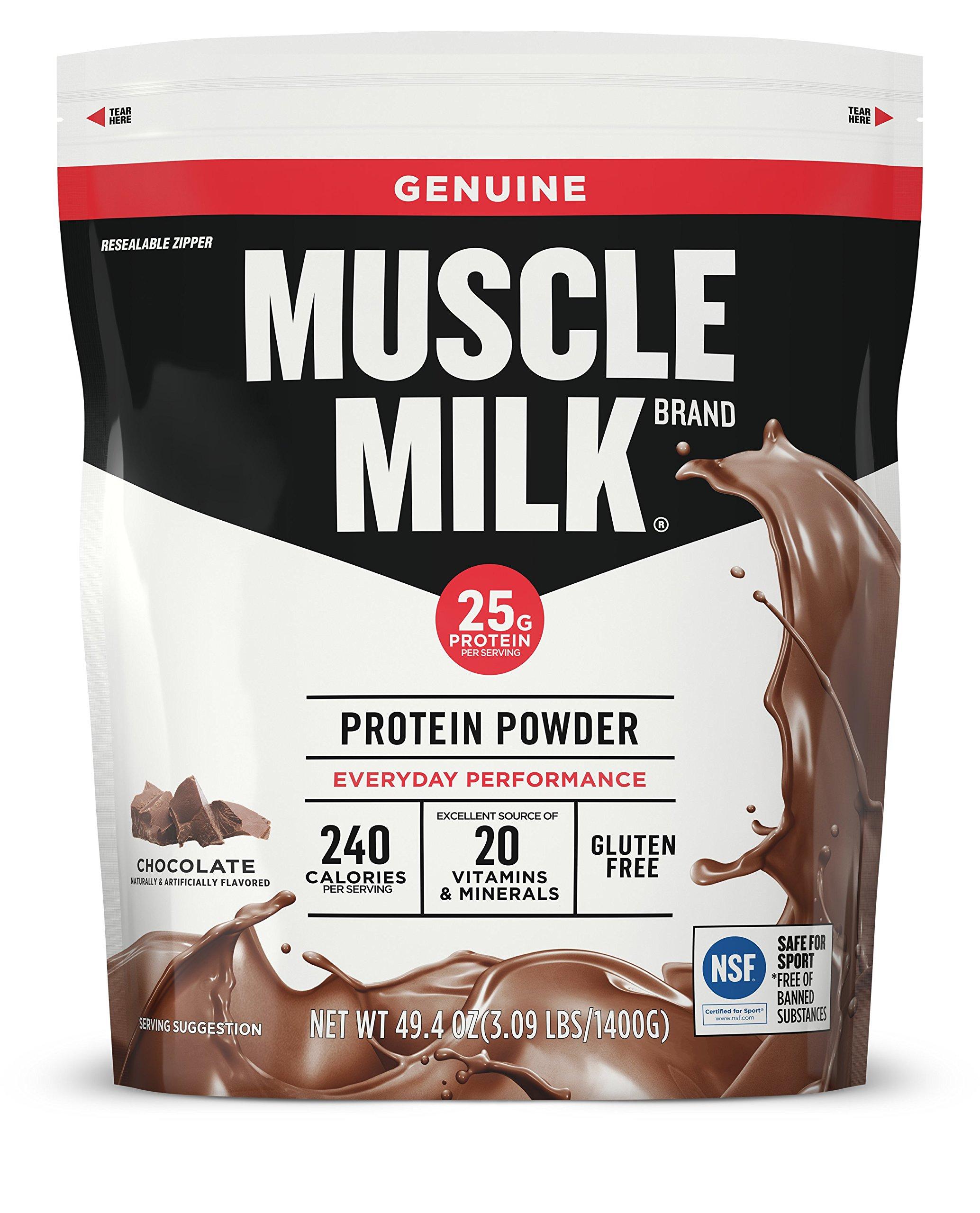 Muscle Milk Genuine Protein Powder, Chocolate, 25g Protein, 3.09 Pound