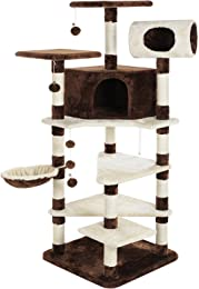 SONGMICS 65-Inch Multi-Level Cat Tree Furniture Condo Tower Large Kitty Play House with Sisal Scratching Posts UPCT17Z