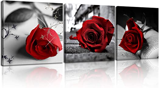 ELEGANT RED ROSE FLOWER BOX CANVAS PRINT WALL ART PICTURE