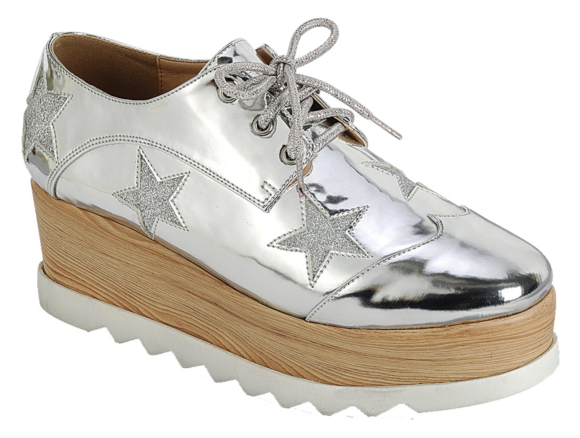 Best Silver Oxford Platform Wedge Heel Double Stacked Creeper Sneaker Round Toe Wing Tip Lace up Dressy Business Casual Shoe College Gift Idea for Sale Women Teen Girl (Size 8, Silver)