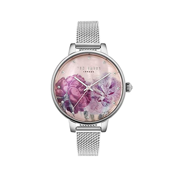 4eb22b514739 Ted Baker Women s Kate Stainless Steel Case Floral Dial Silver Mesh  Bracelet Wrist Watch (Model  TE50005016)  Amazon.ca  Watches