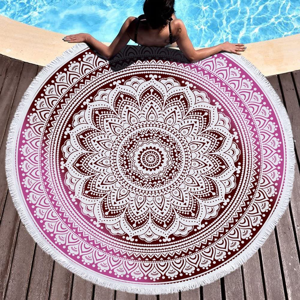 IMEI Super Soft Microfiber Hippie Tapestries Wall Hanging Throw Bedsheet Bed Cover Beach Towel Table Cloth and Picnic Blanket Yoga Mat Navy Blue Mandala Round Beach Throw Tapestry Blanket with Tassels