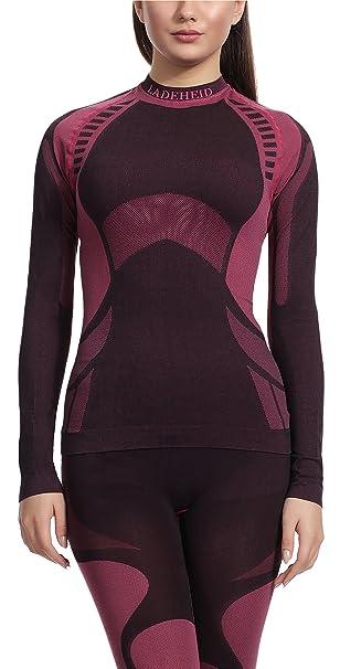 Ladeheid Camiseta Térmica Manga Larga Ropa Interior Mujer (Negro/Rojo, S)