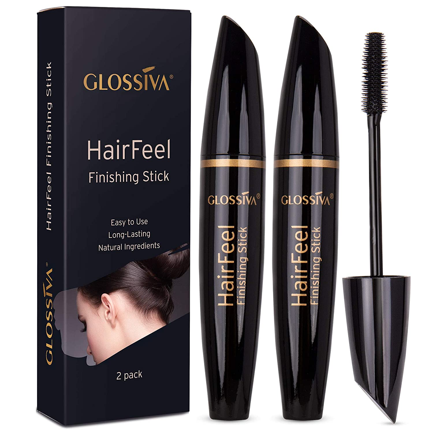 Glossiva Hair Finishing Stick, 25ml, 2 Pack- For Small Broken Hair - Hair Stick for Flyaway Hairs - Natural Ingredients - Fast Solution for Neat Hair Styles - Lightweight