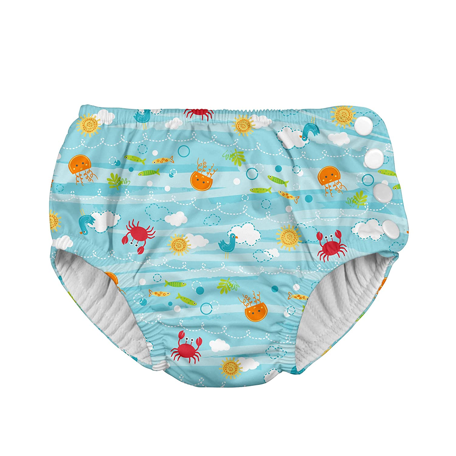 i play Snap Reusable Swimsuit Diaper, 4T, 3 to 4 Years, Light Aqua Sea Friends JellyBean/First Steps 721150