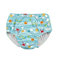 i play. by green sprouts Boys' Snap Reusable Absorbent Swimsuit Diaper, Light Aqua Sea Friends, 3T