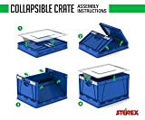 Storex Collapsible Crate with Lid, 17.25 x 14.25 x