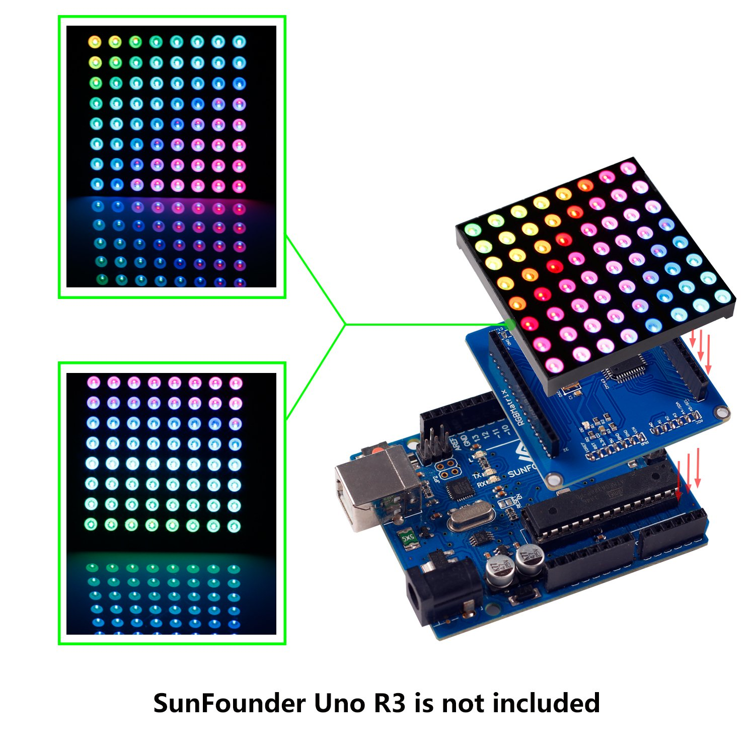 Tri Color Led Circuit 8x8 Full Sunfounder Rgb Matrix Driver Shield Screen For Arduino Computers Accessories