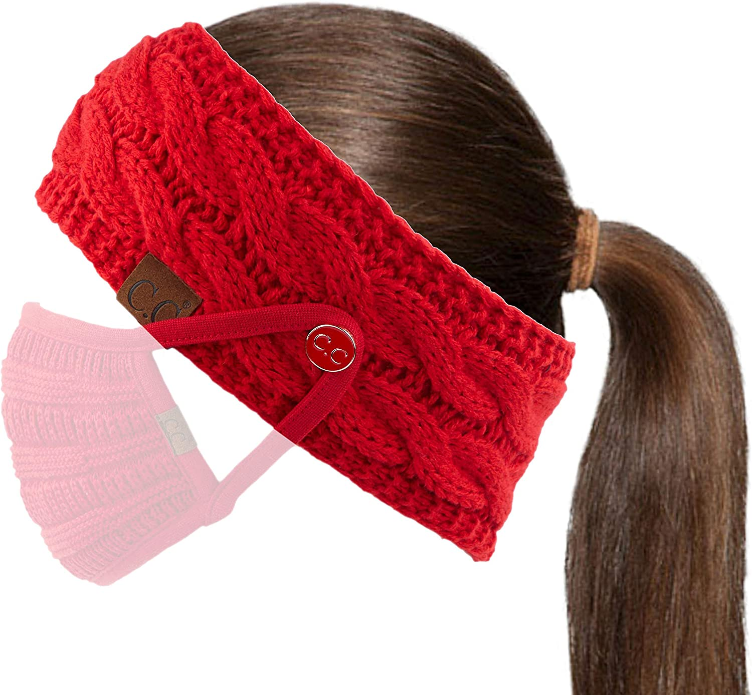 A Button Red BHW-1 C.C Winter Fuzzy Fleece Lined Thick Knitted Headband Headwrap Epoxy Button for Face Masks