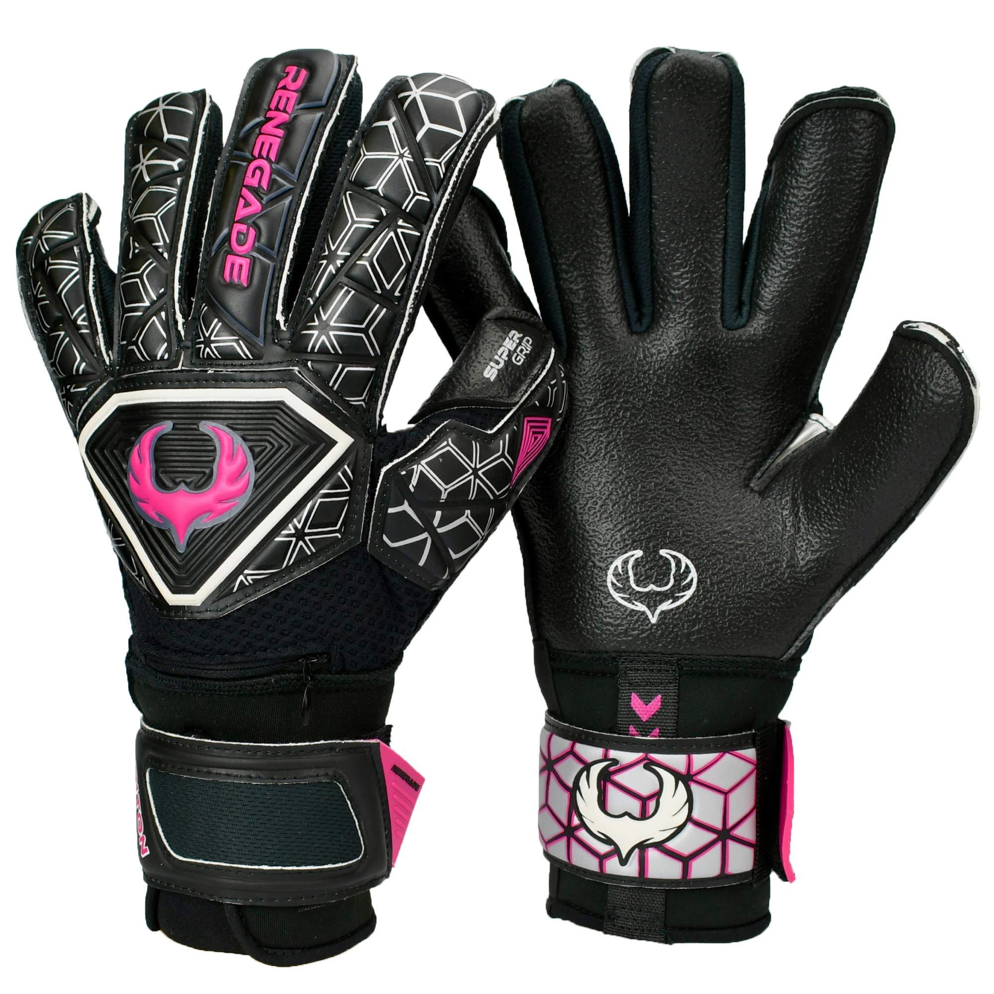 Renegade GK Triton Frenzy Hybrid Cut Level 2 Adult & Kids Goalkeeper Gloves with Fingersaves - Kids Goalie Gloves Size 5 - Soccer Goalie Gloves for Kids - Youth Golie Gloves Black & Pink/Purple