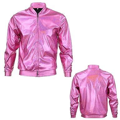 6425d63e5ab 70s 80s 90s Pink Quality Metallic Shiny Rave Bomber Jacket Hologram  Festival Fancy Dress (Large)  Amazon.co.uk  Clothing