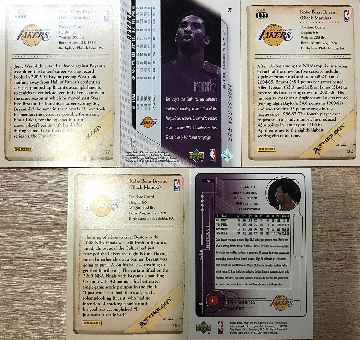 Kobe Bryant 5 Card Gift Lot including MVP SPx and Anthology Cards Showing This Los Angeles Lakers Star in His Gold and Purple Jersey