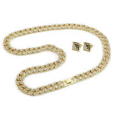 3ecc626867a Mens Gold Tone Cuban Cz Hip Hop Full Stone Iced Out 30