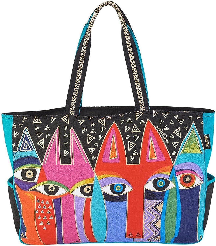 Laurel Burch Tribal Cats Oversized Tote Handbag Purse