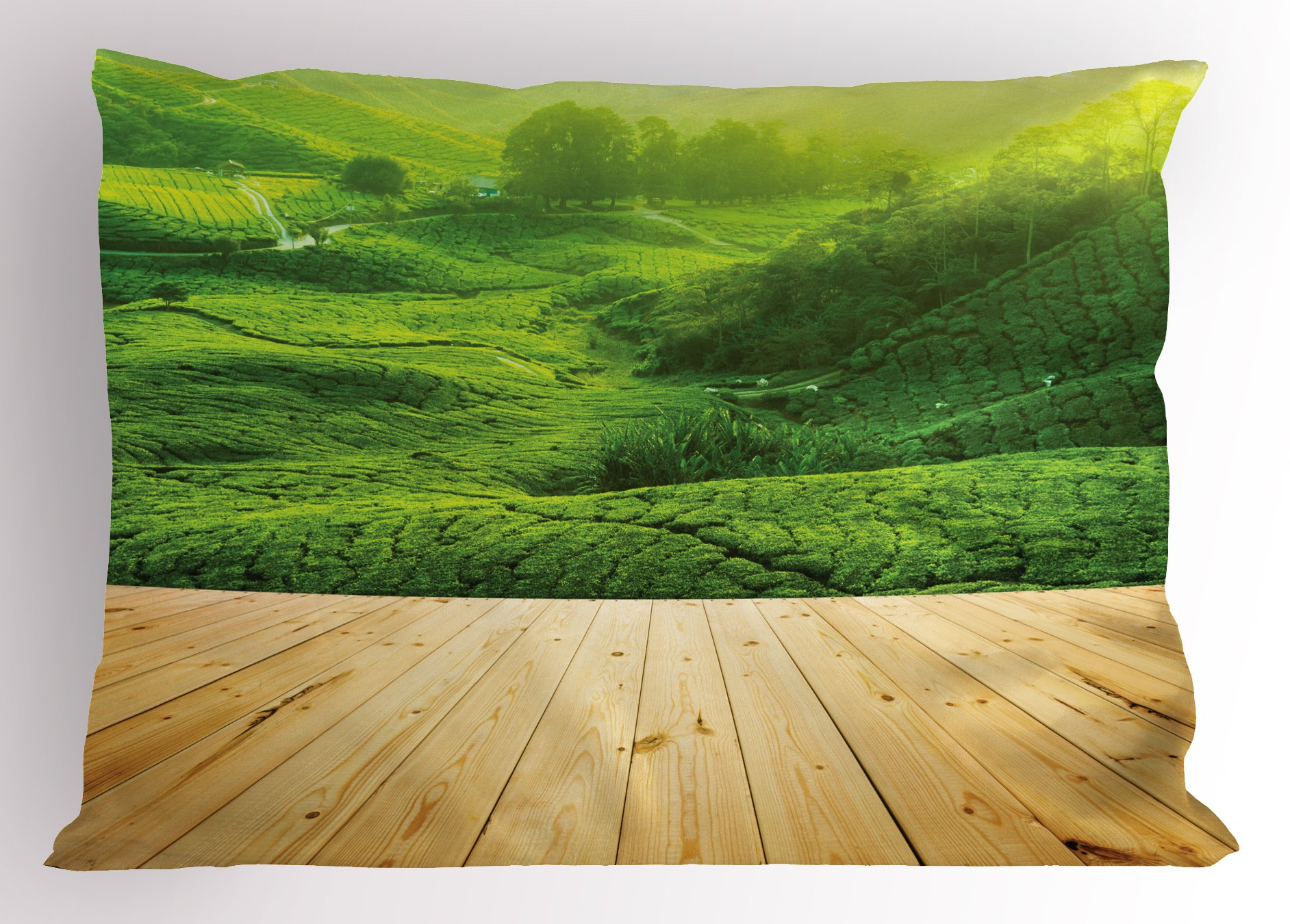 Lunarable Rustic Pillow Sham, Highlands Tea Plantations from Wood Balcony Perspective Sunrise in Eary Morning with Fog, Decorative Standard Size Printed Pillowcase, 26 X 20 inches, Green
