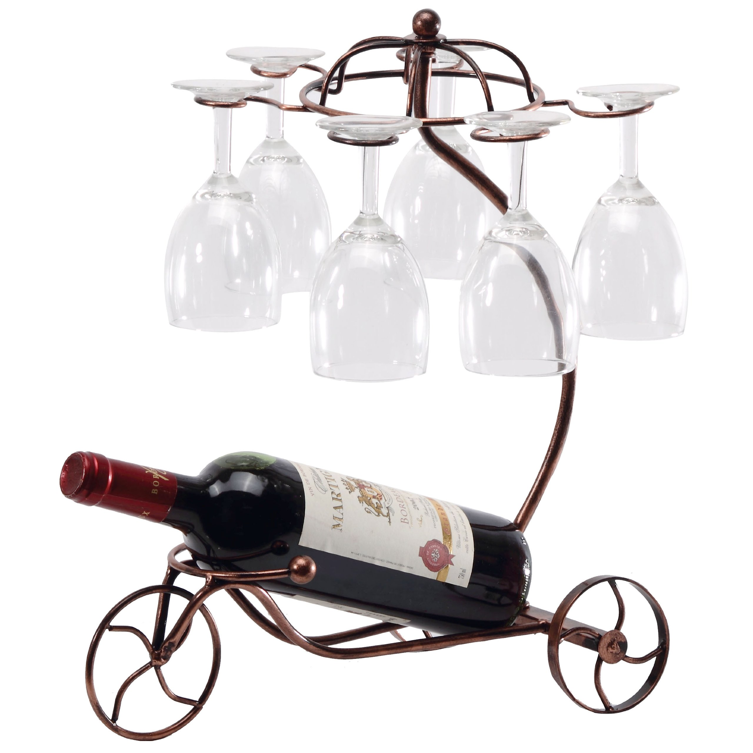 Vintage Parisian Style Bronze Tricycle 6 Wine Glass & Bottle Server Display Rack Organizer Stand -MyGift