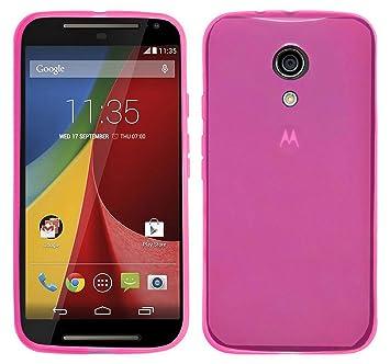 TBOC® Funda de Gel TPU Rosa para Motorola Moto G2 de Silicona Ultrafina y Flexible