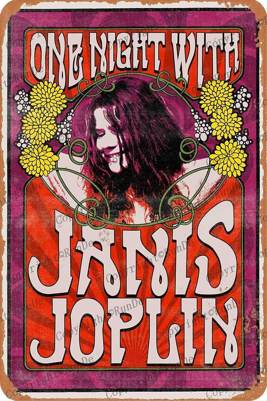 Janis Joplin poster art Cartel de pared de hojalata arte retro pintura de hierro placa de metal 8 * 12 pulgadas decoración de pared cartel de jardín bar café dormitorio patio