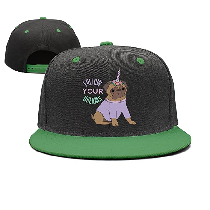 2b9f23d1 Follow Your Dreams Pug Unicorn Pugicorn Unisex Hip Hop Adjustable Flat Brim  Hats Summer Hats