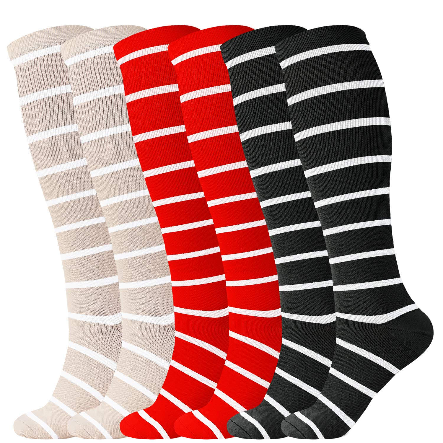 ODIJOO Compression Socks 20-30 mmHg for Women & Men(3 Pairs)-Best for Running, Athletic, Medical, Pregnancy and Travel