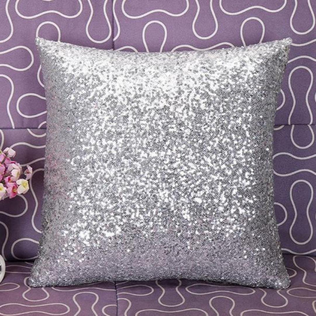 Woaills 16 x 16 Throw Pillow Case, Glitter Sequins Cushion Cover for Home Sofa Decor (Silver) by Woaills (Image #3)
