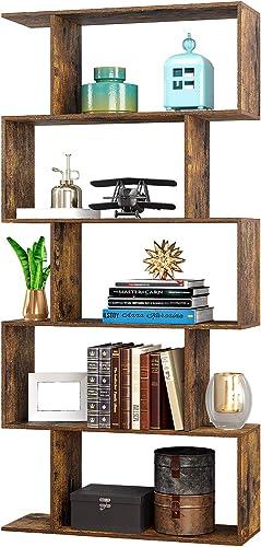Yusong Wood Bookcase ,5-Tier S-Shaped Bookshelf,Display Shelf