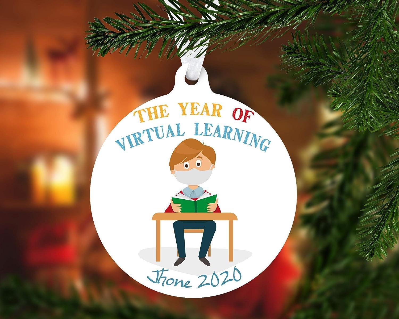 None-Brands 2020 Christmas Tree Decor Virtual Learning 2020 Christmas Ornament,Pandemic Christmas Metal Ornament, Christmas 2020, Stay at Home Christmas, Ornament Keepsake Gift