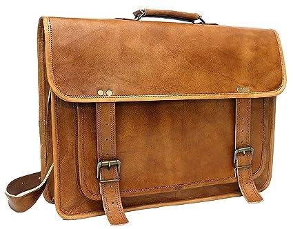 Vintage leather real leather messenger satchel cross body bag briefcase